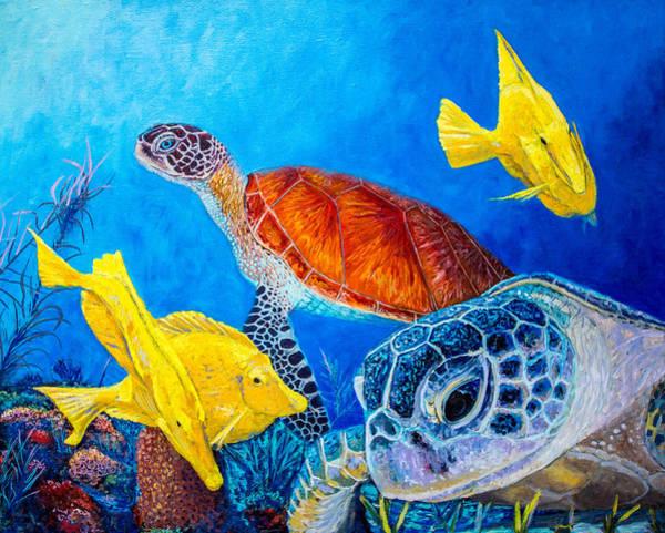 Sea Salt Painting - Sea Turtles by Manuel Lopez