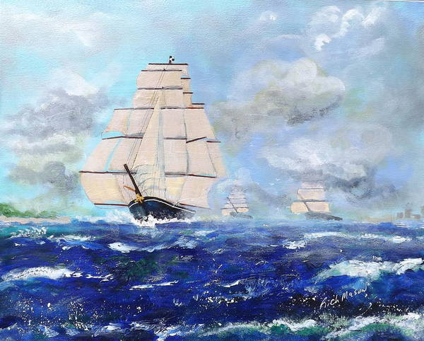 Wall Art - Painting - Sea Witch Leaving Port by Rich Mason