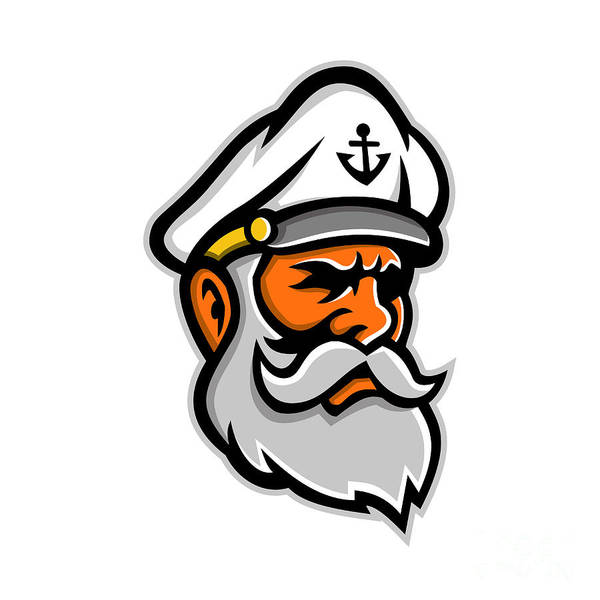 Wall Art - Digital Art - Seadog Sea Captain Head Mascot by Aloysius Patrimonio