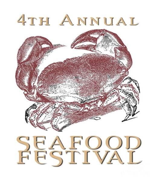 Wall Art - Digital Art - Seafood Festival Tee by Edward Fielding