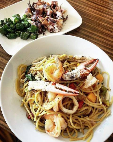 Photograph - Seafood Spaghetti And Grilled Octopus by Arya Swadharma