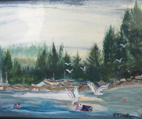 Wall Art - Painting - Seagull Haven by Julie Thomas-Zucker