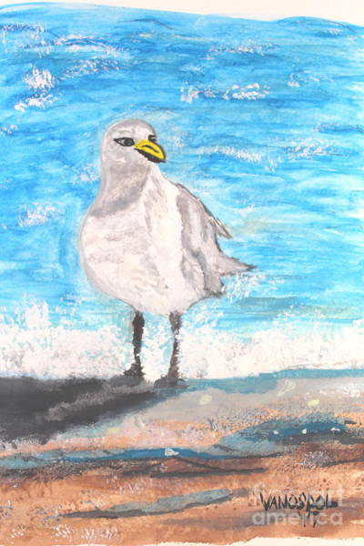 Gulf Shores Alabama Painting - Seagull On The Beach - Cropped Version by Scott D Van Osdol