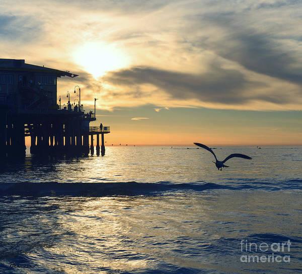 Photograph - Seagull Pier Sunrise Seascape C2 by Ricardos Creations