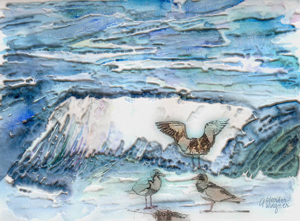 Seagulls Mixed Media - Seagulls In The Surf by Arline Wagner
