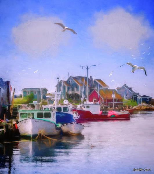 Ken Morris Digital Art - Seagulls Of Peggys Cove by Ken Morris
