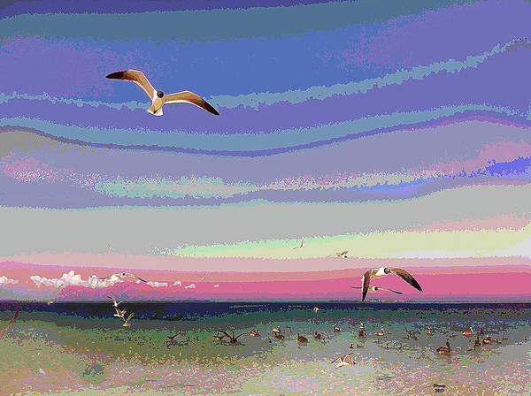 Pelican Mixed Media - Seagulls On The Beach by Charles Shoup