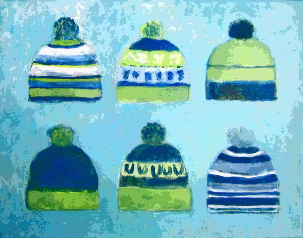 Painting - Seahawks Caps by Kazumi Whitemoon