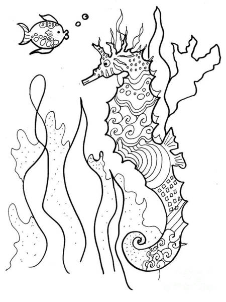 Drawing - Seahorse And Fish Coloring Book Image by Robin Maria Pedrero
