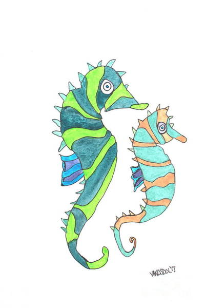 Having Sex Painting - Seahorse Couple - Coastal Watercolor by Scott D Van Osdol