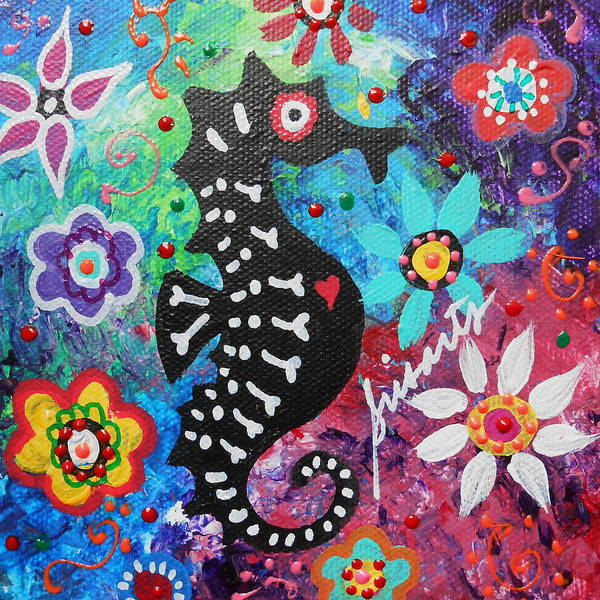 Wall Art - Painting - Seahorse Day Of The Dead by Pristine Cartera Turkus