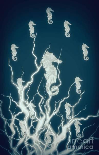 Mixed Media - Seahorse Family Deep Teal by Rachel Hannah