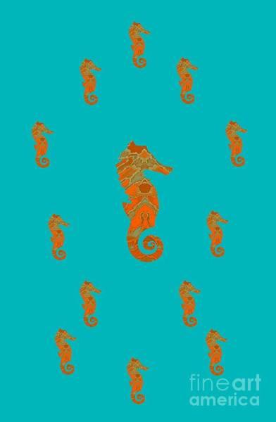 Mixed Media - Seahorse Family Aqua And Orange by Rachel Hannah