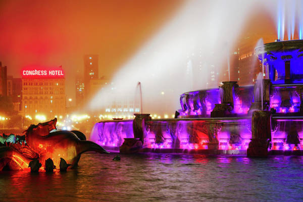 Photograph - Seahorse In The Fog - Buckingham Fountain - Chicago by Scott Campbell