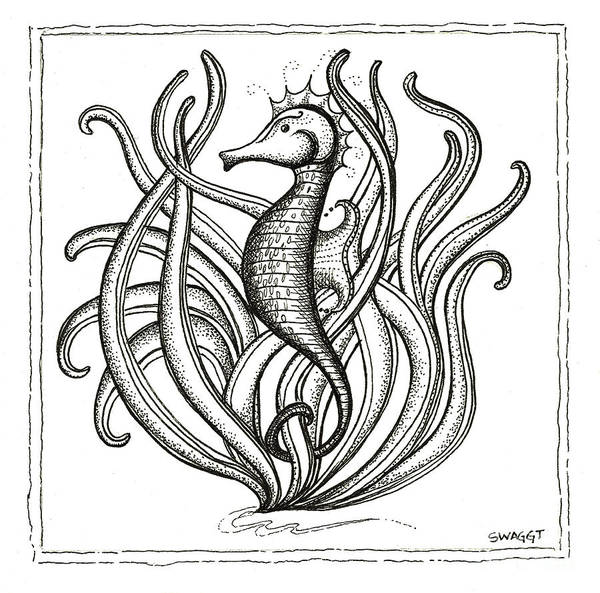 Grass Drawing - Seahorse by Stephanie Troxell