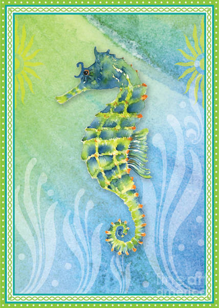 Painting - Seahorse Blue Green by Amy Kirkpatrick