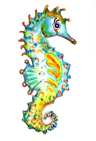 Painting - Seahorse Watercolor by Carlin Blahnik CarlinArtWatercolor