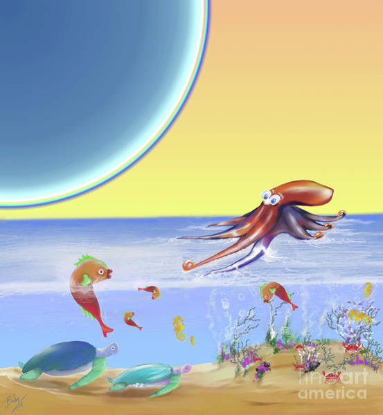 Sea Story Digital Art - Sealife Family Childrens Illustration by Deb Bailey
