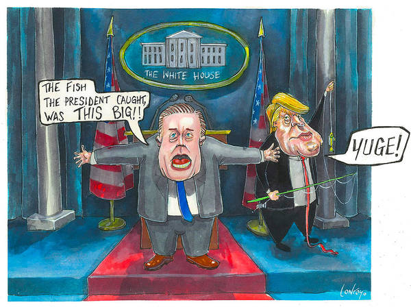 Trump Cartoon Painting - Sean Spicer Has A Hard Job by Pete Conroy
