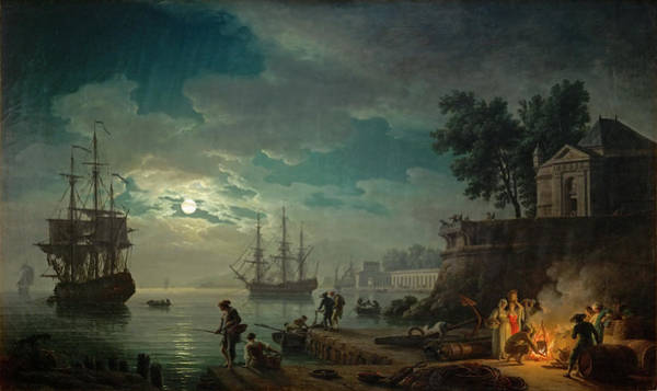 Seaport By Moonlight Art Print
