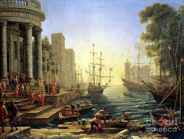 Galleons Wall Art - Painting - Seaport With The Embarkation Of Saint Ursula  by Claude Lorrain