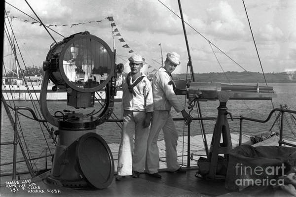 Photograph - Search Light, And Rapid Fire Gun, On The Battleship ,uss Texas, Havana Cuba, 1898 by California Views Archives Mr Pat Hathaway Archives