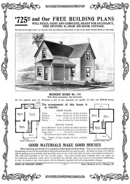 Wall Art - Mixed Media - Sears 1910 Home Plan by Zal Latzkovich