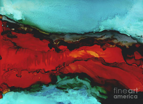 Adirondack Mountains Painting - Seascape At Night In Alcohol Inks by Kitty Van den Heuvel