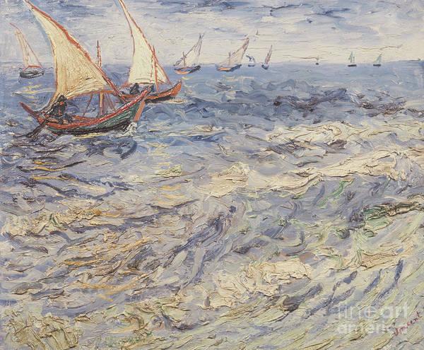Painting - Seascape At Saintes-maries, View Of Mediterranean, 1888 by Vincent Van Gogh