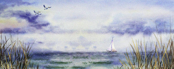 Seascape Elongated Painting With Sailboat Art Print