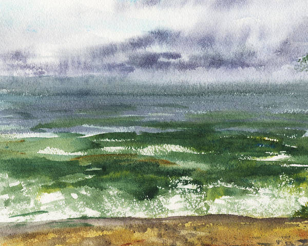 Gloomy Painting - Seascape Emerald Ocean by Irina Sztukowski