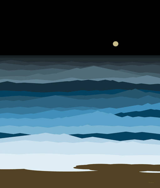 Digital Art - Seascape - Night by Val Arie