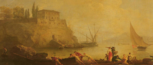 Set Sail Painting - Seascape, Sunset  Fishermen Pushing Out A Boat  by Claude Joseph Vernet