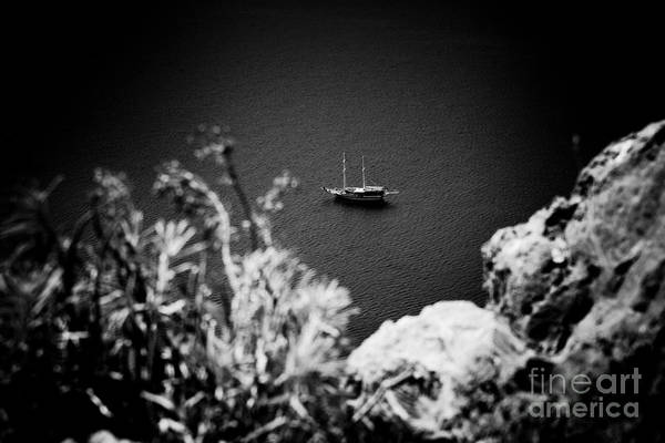 Photograph - Seascape With Boat Artmif.lv Balck And White by Raimond Klavins