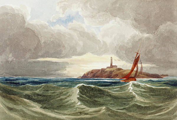 Painting - Seascape With Lighthouse by Attributed to James Bulwer