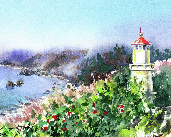 Trinidad Wall Art - Painting - Seascape With Lighthouse by Irina Sztukowski