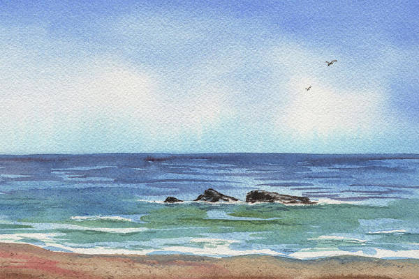 Wall Art - Painting - Seascape With Three Rocks by Irina Sztukowski