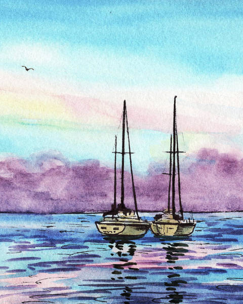 Impressionistic Sailboats Painting - Seascape With Two Boats Watercolor by Irina Sztukowski