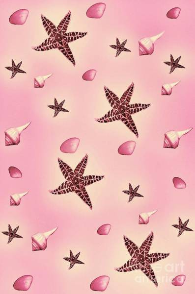 Digital Art - Seashells And Starfish Pink by Rachel Hannah