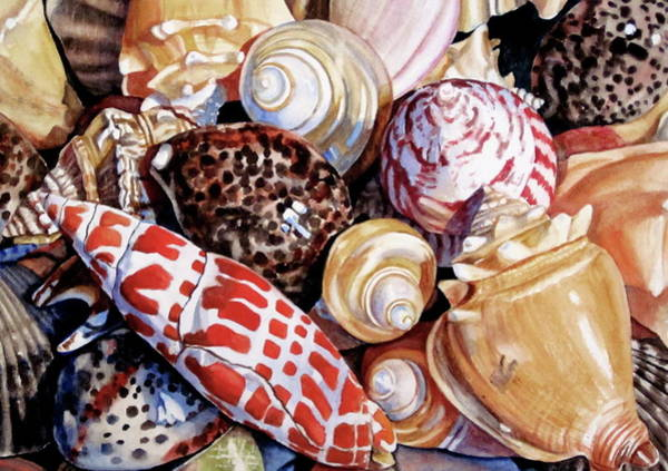 Wall Art - Painting - Seashells In Watercolor by Lillian  Bell