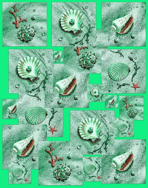 Painting - Seashells On Green by Irina Sztukowski