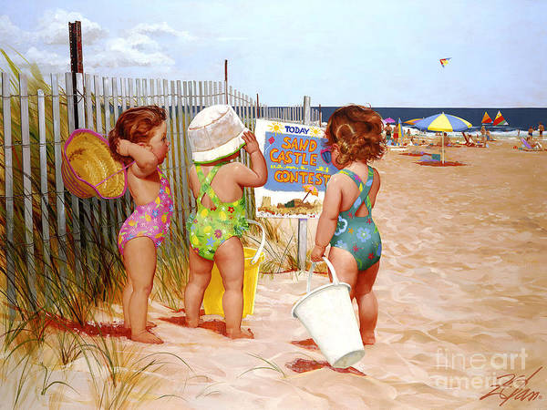 Beach Girls Painting - Seaside Adventures by Donald Zolan