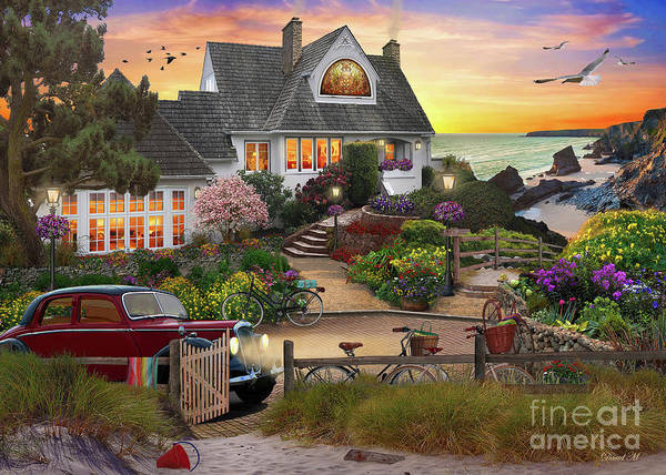 Seaside Digital Art - Seaside Hill by MGL Meiklejohn Graphics Licensing
