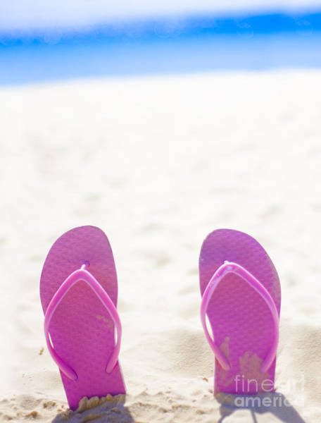 Flip Flops Photograph - Seaside Holiday Concept With Copyspace by Jorgo Photography - Wall Art Gallery
