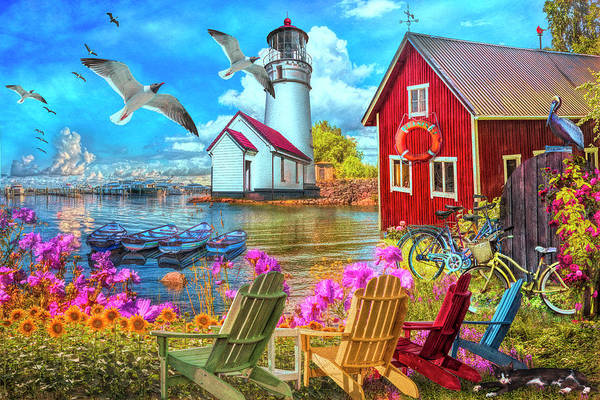 Wall Art - Photograph - Seaside Invitation At The Harbor Painting by Debra and Dave Vanderlaan