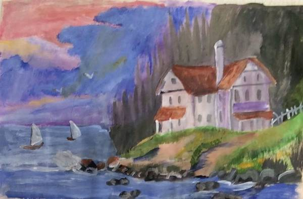 Wall Art - Painting - Seaside Mansion On A Hill by Julie Thomas-Zucker
