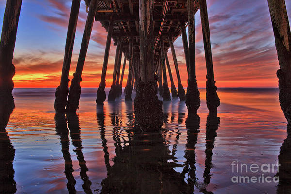 Seaside Reflections Under The Imperial Beach Pier Art Print