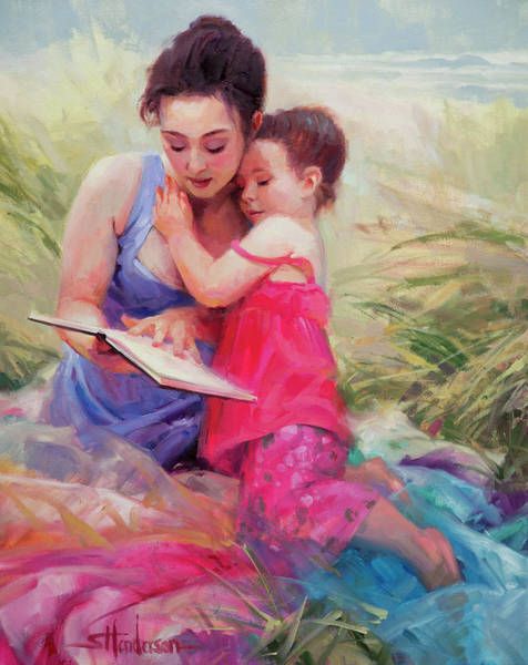 Woman Reading Wall Art - Painting - Seaside Story by Steve Henderson