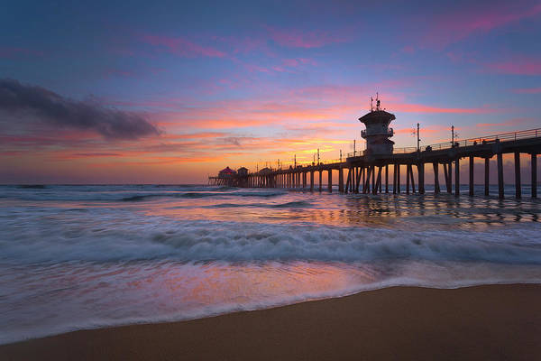 Huntington Beach Pier Photograph - Seaside Sunset by Brian Knott Photography