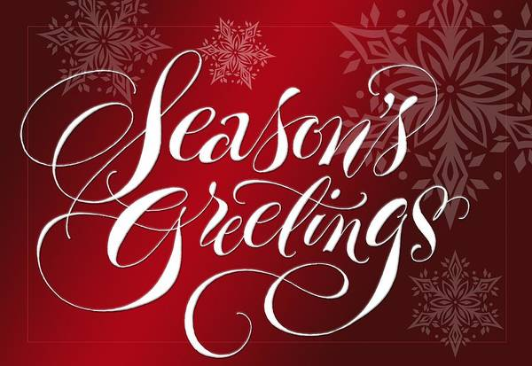 Wall Art - Photograph - Seasons Greetings Lettering by Gillham Studios